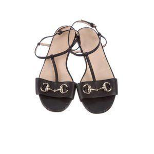 Gucci Black Horsebit Leather T-Strap Sandals
